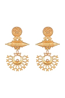 Gold Finish Dangler Earrings by VASTRAA Jewellery