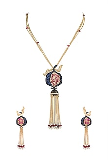Gold Finish Tassel Chain Necklace by VASTRAA Jewellery