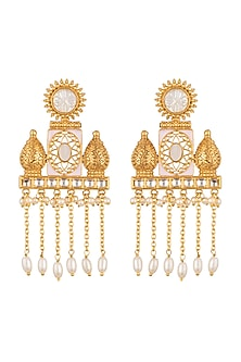 Gold Finish White Stones Earrings by VASTRAA Jewellery