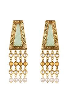 Gold Finish White Kundan Earrings by VASTRAA Jewellery