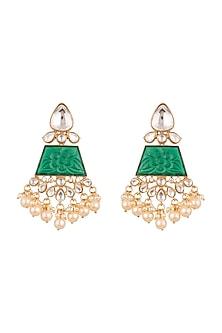 Gold Finish Stones Earrings by VASTRAA Jewellery