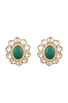 Gold Finish Green Stone Earrings by VASTRAA Jewellery