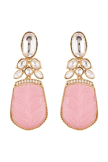 Gold Finish Pink Stone Earrings by VASTRAA Jewellery