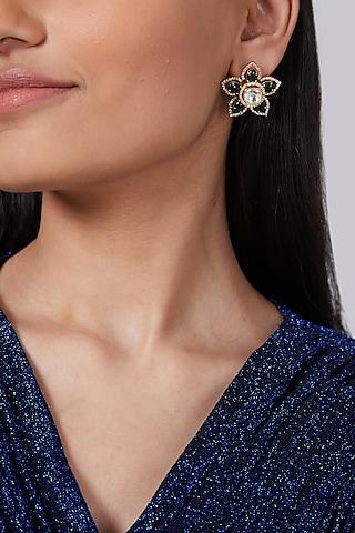 Gold Finish Green Stone Kundan Earrings by VASTRAA Jewellery