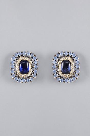 Gold Finish Blue Stone Stud Earrings by VASTRAA Jewellery