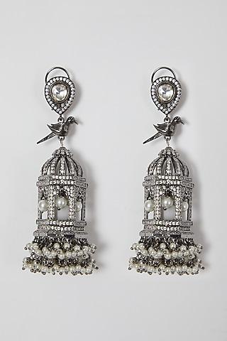 Black Rhodium Finish Bird Motifs Earrings With Faux Diamond by VASTRAA Jewellery