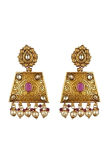 Gold Finish Temple Dangler Earrings by VASTRAA Jewellery