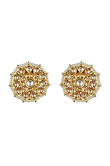 Gold Finish Kundan Stud Earrings by VASTRAA Jewellery