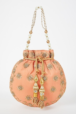 Pink Embroidered Potli by VASTRAA