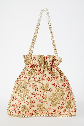 White Embroidered Potli by VASTRAA