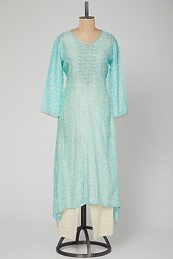 Powder Blue Embroidered Kurta With Pants by VASTRAA