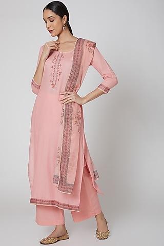 Pink Printed Kurta Set by VASTRAA