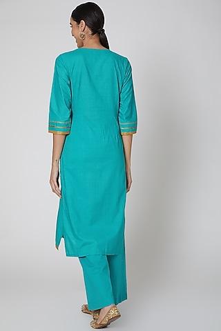 Turquoise Embroidered Kurta Set by VASTRAA
