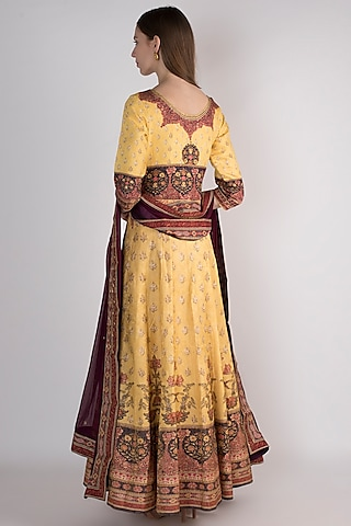 Yellow Printed Anarkali With Dupatta by VASTRAA