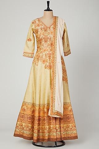 Off White Printed Anarkali Set by VASTRAA