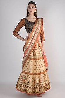 Ochre Floral Printed Lehenga Set by VASTRAA-POPULAR PRODUCTS AT STORE