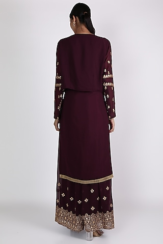 Brown Embroidered Kurta Set by VASTRAA