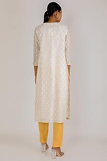 White & Yellow Cotton Kurta Set by Vastraa