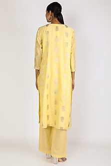 Yellow Silk Kurta Set by Vastraa