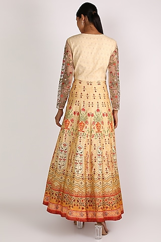 Red Printed Anarkali With Dupatta by Vastraa