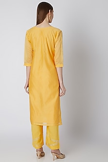 Yellow Kurta Set With Gota Work by VASTRAA
