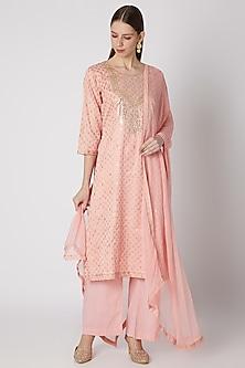 Blush Pink Embroidered Kurta Set by VASTRAA