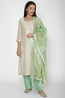 Mint Green & Beige Embroidered Kurta Set by VASTRAA