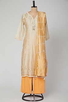Cream & Orange Embroidered Kurta Set by VASTRAA-POPULAR PRODUCTS AT STORE