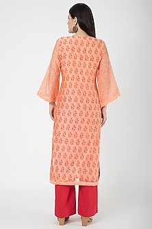 Orange & Red Printed Kurta Set by VASTRAA