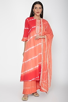 Orange Printed & Embroidered Kurta Set by VASTRAA