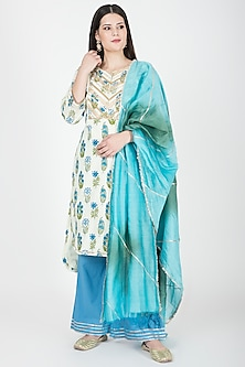 Blue Printed & Embroidered Kurta Set by VASTRAA