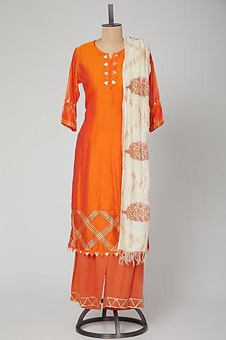 Orange Embroidered Gota Patti Kurta Set by VASTRAA