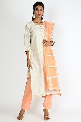 White & Orange Embroidered Kurta Set by VASTRAA