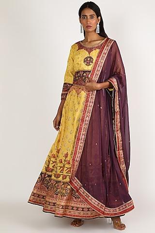 Purple & Yellow Embroidered Lehenga Set by VASTRAA
