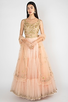Peach Embroidered & Printed Lehenga Set by Varsha Wadhwa