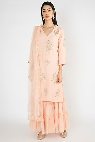 Peach Embroidered & Printed Sharara Set by Varsha Wadhwa