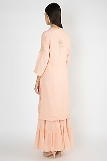 Peach Embroidered & Printed Sharara Set by Varsha Wadhwa