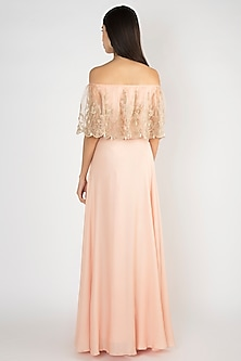 Peach Crop Top With Attached Embroidered Cape & Skirt by Varsha Wadhwa
