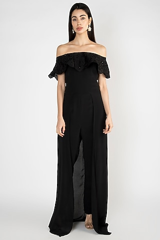 Black Embroidered Off Shoulder Gown by Varsha Wadhwa