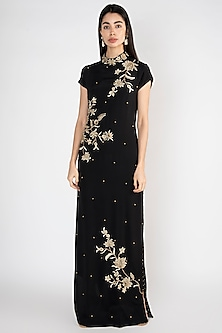 Black Floral Embroidered Long Tunic With Pants by Varsha Wadhwa