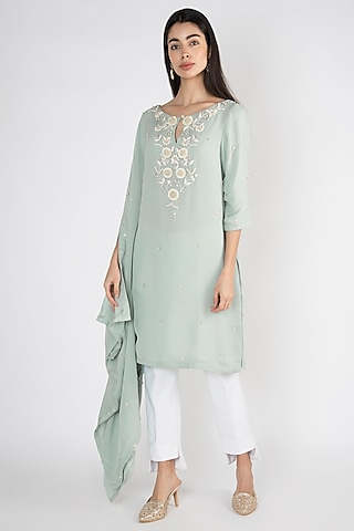 Mint Blue Embroidered Kaftan Tunic by Varsha Wadhwa