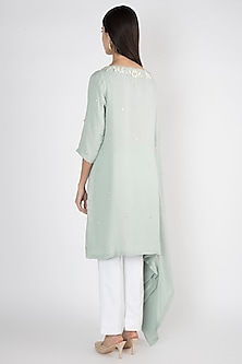 Mint Blue Embroidered Kaftan Tunic by Varsha Wadhwa