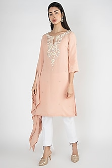 Peach Embroidered Kaftan Tunic by Varsha Wadhwa