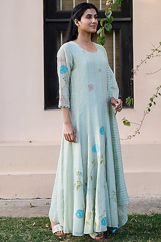 Sage Green Embroidered Anarkali Set by Vaayu