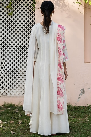 Pearl White Embroidered Anarkali With Dupatta by Vaayu