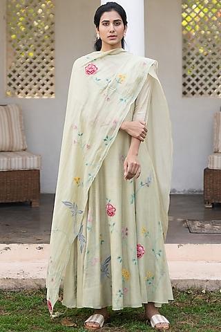 Khaki Embroidered Anarkali Set by Vaayu