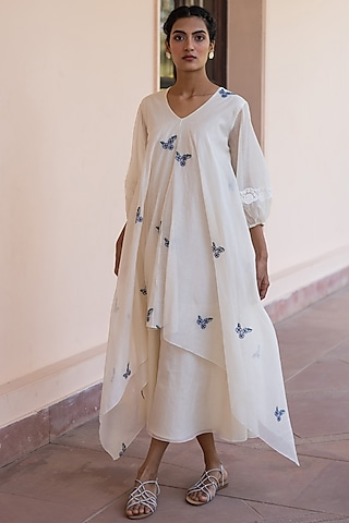Ivory Thread Embroidered Dress by Vaayu