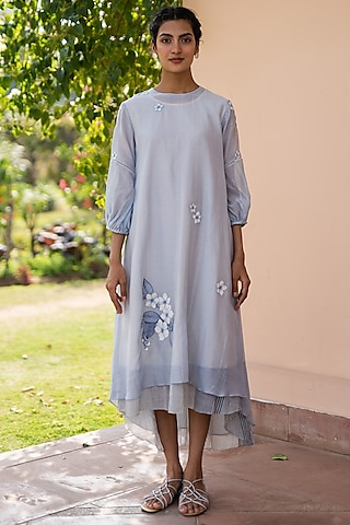 Azure Blue Embroidered Dress With Inner by Vaayu