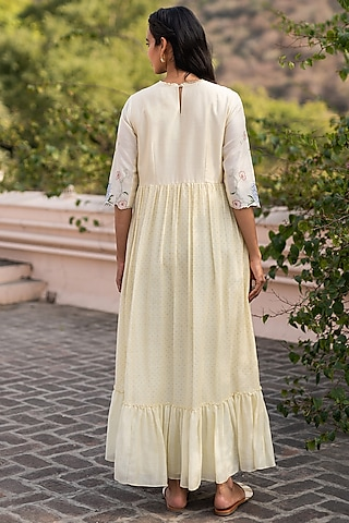 Butter Yellow Embroidered Dress by Vaayu