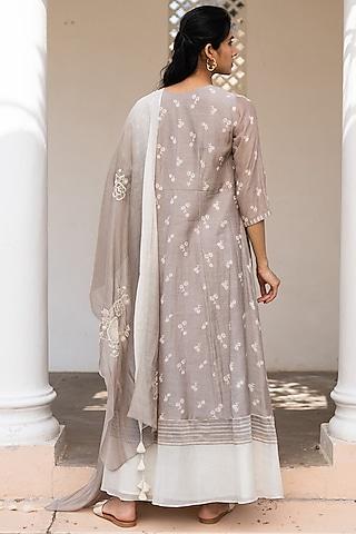 Sand Printed & Embroidered Anarkali Set by Vaayu